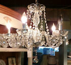 ANTIQUE BOBECHE CLEAR CRYSTAL 5  ARM  CHANDELIER STRUNG ROPE PRISMS LAMP FIXTURE