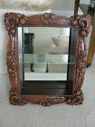 Vintage Small Wood Miniatures Display Curio Cabinet Rose Glass Mirror