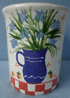 Siska Signed Pottery Jar Vase Peaches Blue Flowers Checkerboard ~ FREE SHIPPING