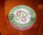 222 Fifth  Christmas Foliage Dessert Party Plates  NWT S/4
