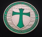 KNIGHTS TEMPLAR CROSS .999 fine silver plated with beautiful Green layering coin