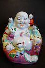 Chinese Porcelain/Enamel Statue Laughing Buddha w/Five Kids - 10 1/2