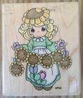 Stampendous Precious Moments Rubber Stamp UV011 Always Shine 1996 Sunflowers