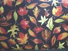Crafts Sewing Fabric Red Rooster Joyful Harvest (23621)  Brown Orange Leaves BTY