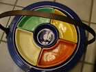 HOMER LAUGHLIN FIESTA RELISH TRAY VERY RARE AND COLORFUL  INCLUDES THE HANDLE