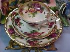 Gold and Big Roses Royal Sealy 3 Piece Trio Bone China Tea Cup & Saucer & Plate