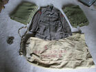 Original WW2 US Military Set: Tunic w Patches, Duffle Bag, 2 Wool Blankets, Tie