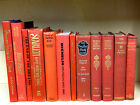 a Lot of 12 Vintage Books Instant Library An Array of Red Decorative