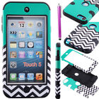 Case Cover For iPod Touch 5th Gen Hard&Soft Rubber High Impact Armor Blue&Black