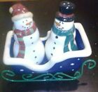 Snowman Decorative Christmas Salt and Pepper Shakers Pair Boy Girl Sleigh