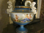 French Sevres style Bisque/Porcelain  Figural Putti/scenic decorated Urn 13x13