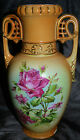 Fantastic Old Austria Hand Painted & Gilded Tall Vase Pink Roses 11