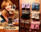 Women's Rabbit Fur Hand Wrist Warmer Leather Fingerless Gloves Ladys 7 Colors