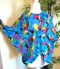 AVANT GARDE Sheer Abstract Scarf Print Draped Gauze COCOON Shirt Blouse Top OS