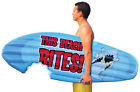 NEW This Beach Bites Inflatable Surfboard Shark 6' Pool Raft Toy  Float