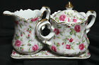 3 Pc Vintage Lefton China Set Creamer Sugar Tray Dish Plate Rose Chintz Covered