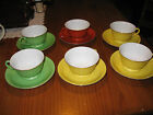 Vintage Noritake  Gold Trim 6 Tea cups and 6 Saucers ( 3 Colors  ) Japan