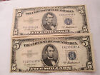 FIVE DOLLAR (2) BLUE SEAL SILVER CERTIFICATES GOOD CONDITION CIRCULATED; TCD7