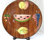 vtg hand painted Pottery Italy raised Fruit platter Mid Century Mod tray charger