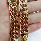 10mm Stainless Steel Gold Tone Curb Chain Necklace 24
