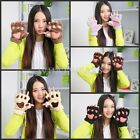 Lovely Women's Girls Bear's Paw Furry Soft Warm Thicking Half Finger Gloves GBW