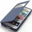 Samsung Galaxy S2 II i9100 PU Leather Flip Case Jelly View Cover Pouch Wow-Navy