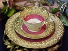 Aynsley Heavy Gold Gilt and Red 3 Piece Trio Bone China Tea Cup