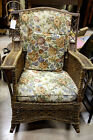 Antique Brown Woven Wicker Porch Rocking Chair Upholstered 20s Patio Outdoor Vtg