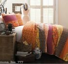 NEW 3PC QUEEN ORANGE BROWN YELLOW PURPLE COTTAGE FLORAL QUILT REVERSES BED SET