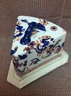 Antique Gaudy Ironstone Covered Cheese Keep With Imari Design, White Background