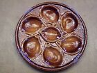 ANTIQUE St CLEMENT MAJOLICA BROWN FRENCH OYSTER PLATE 9 7/8