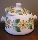 Hand painted 2.5 qt bean pot or tureen with stylized flowers 1950-60's era RARE!