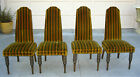 Four Vintage Green Striped Mid Century Dinningroom CHAIRS Hollywood Regency