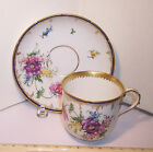 ANTIQUE KPM BERLIN PORCELAIN CHINA GERMANY HAND PAINTED CUP & SAUCER FLOWERS EXC