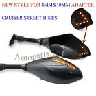 CARBON LED TURN SIGNALS INTERGRATED MIRRORS FOR HONDA CRUISER SHADOW REBEL CB