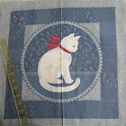 Vtg 80s Wedgewood smokey blue calico fabric panel pillow block pr CAT silhouette