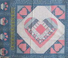 Vtg 80s Cranston Calico heart blue pink fabric panel Cheater pillow blocks 5