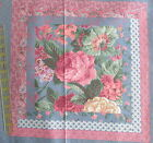 Cranston cheater cotton fabric panel pillow block blue PINK rose lot + 1 yd