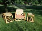 * PRICE CUT! 1950's Vintage Bamboo Rattan Tiki Pretzel Chair With 2 Side Tables