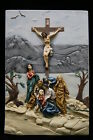 Crucifixion Scene of Jesus Christ Cross Statue Catholic Wall Plate Plaque Italy