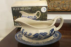 EIT ENGLISH IRONSTONE TABLEWARE OLD WILLOW GRAVY BOAT & STAND IN BOX