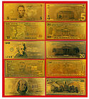 GOLD US BANKNOTE SET $5 $10 $20 $ 50 $100 COLLECTION 99.9 PURE DOLLAR BILL 24K
