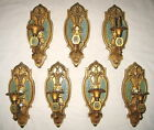 7 Victorian Ornate Brass Wall Sconces Sconce Acanthus Leaf Turquoise Bobeche