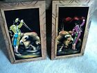 Beautiful Pair of 1960's Painted Velvet Matadors, Bull fighters Painting , Retro