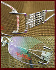 RIMLESS WOMEN metal silver OPTICAL RX EYEGLASS FRAMES 51-19-135 spring hinges