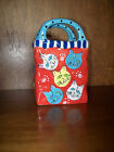 VTG Kitty Cat Handled Bag Vase Trinket Holder Polka Dots Porcelain or Ceramic