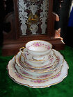Vtg DRESDEN ROSE Grace China 7 pc Place Setting plate bowl cup saucer Dinner SET