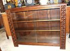 French Antique Gothic Oak Glass Door Bookcase / 3 Shelf Display Cabinet