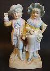 Vintage Bisque Porcelain Double Figurine *Young Gardeners* (Boy and Girl)10 1/2