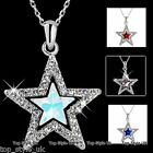 Star Crystal Necklace Pendand Cute Gift for her on Christmas Valentine Birthday